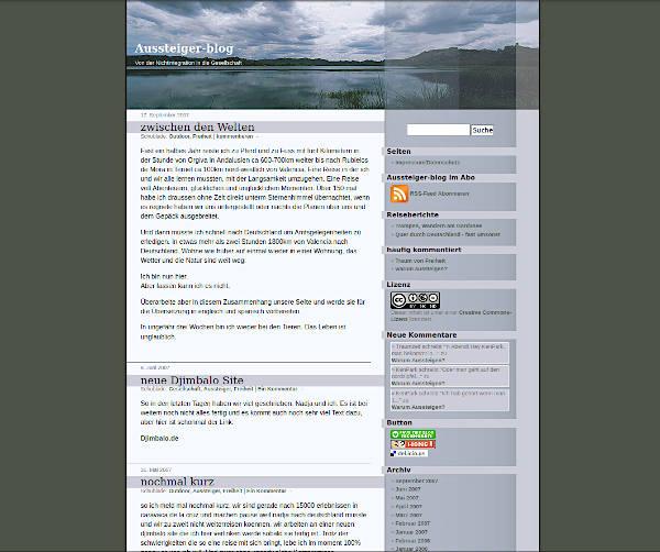 Ein Screenshot des alten aussteiger-blog von 2007.